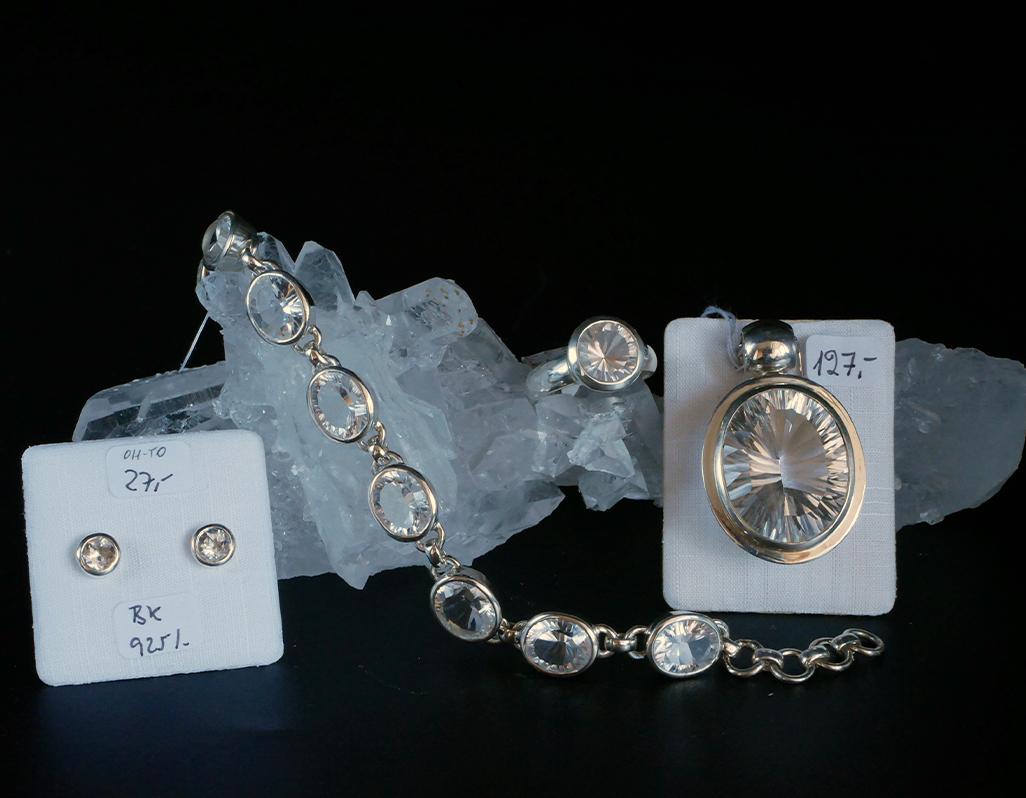 Bergkristall in Silber, Lasercut